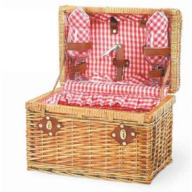 Enlarge Chardonnay Willow Picnic Basket - Red Check Lining & Napkins