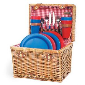 Enlarge Oxford Willow Chest Picnic Basket for Four - Red Check Lining