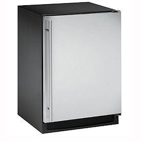 Enlarge U-Line 2175RFS-00 2000 Series Frost-Free Refrigerator / Freezer - Black Cabinet with Stainless Steel Door - Right Hinge