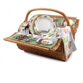 Enlarge Picnic Time Barrel Botanica Willow Picnic Basket for 2 - Hunter Green w/ Purple