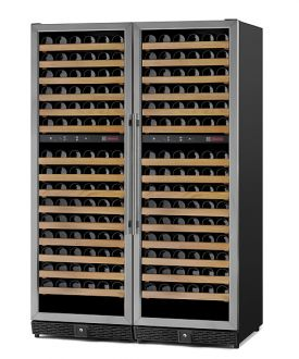 Enlarge Allavino MWR-2X1682-SS 340 Bottle Multi Zone Wine Cellar - Black Cabinet with Stainless Door