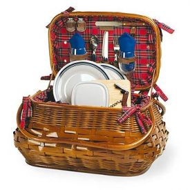 Enlarge Sandringham Bamboo & Rattan Picnic Basket for Two