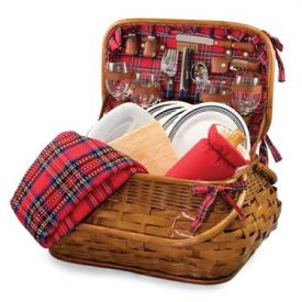 Enlarge Picnic Time Highlander Bamboo & Rattan Picnic Basket for Four