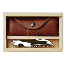Enlarge Cpage Laguiole Corkscrew & Leather Case Set - Black Horn