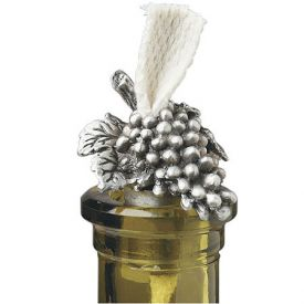 Enlarge Pewter Grapes Bottle Candle w/ Wick
