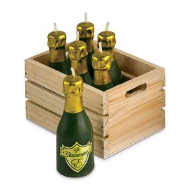 Enlarge Mini Champagne Bottle Candles w/ Wood Crate