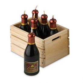 Enlarge Mini Wine Bottle Candles w/ Wood Crate