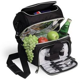 Enlarge Picnic Time Pranzo Deluxe Lunch Cooler - Black w/ Silver Trim