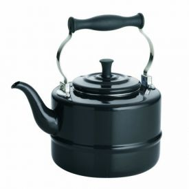 Enlarge BonJour 53867 Porcelain Teakettle, Vintage Design, Black - 2 Qt.