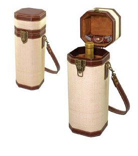 Enlarge Bali 1 Bottle Woven Straw Leatherette Wine Case