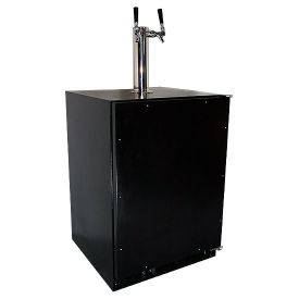 Enlarge Marvel 61HK-BB-O-R-X2D Kegerator Cabinet with BeverageFactory.com X-CLUSIVE 2 Faucet D System Keg Tapping Kit - Black Cabinet with Overlay Door