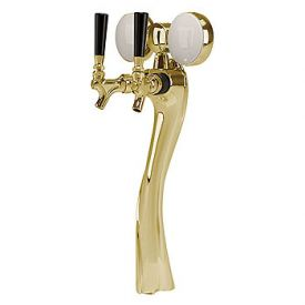 Enlarge 6502-G-A-M Lucky Beer Tower, 2 Faucet, Gold Finish, Air Cooled, Illuminated Medallion