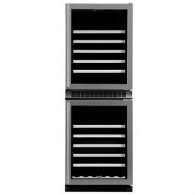 Enlarge Marvel 66WCM-BD Digital 90-Bottle Dual Zone Wine Cellar - Black w/ Custom Wood Trim