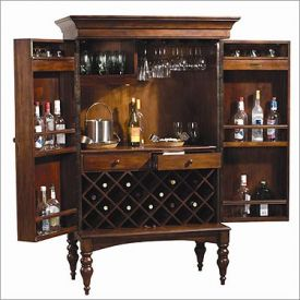 Enlarge Howard Miller 695-014 Cherry Hill Hide-A-Bar Wine & Spirits Cabinet
