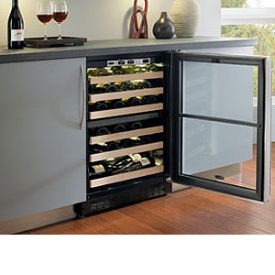 Enlarge Marvel 6SDZE-BB-G-RL Black Dual Zone Black Wide Trim Glass Door Wine Cellar