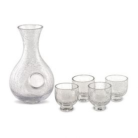 Enlarge Cold Sake Set - Clear Crackled Glass