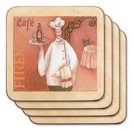 Enlarge Chef with Wine Tray Coasters