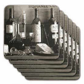 Enlarge Vintage Wine Black & White Coasters