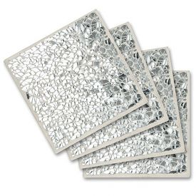 Enlarge Silver Sparkle Glass Coaster Set