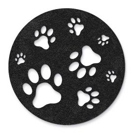 Enlarge Black Paw Stomping - Felt Coasters