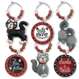 Enlarge Kitty Charm My Glass� Wine Charms