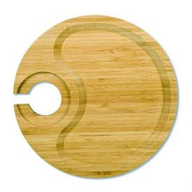 Enlarge Bamboo Party Plate with Built-In Stemware Holder