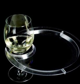 Enlarge Round Party Plate With Built-in Stemware Holder