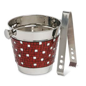 Enlarge Alluring Red Mosaic Ice Bucket w/ Tongs