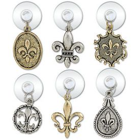 Enlarge Fleur De Lis Suction Cup My Glass� Wine Charms