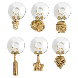 Enlarge Gold Wine Cellar Suction Cup My Glass� Wine Charms