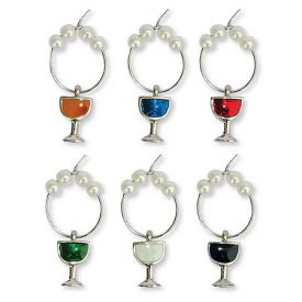 Enlarge Colored Wine Glass My Glass� Wine Charms