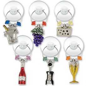 Enlarge Silver Plated Wine Party Suction Cup My Glass� Wine Charms