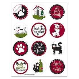Enlarge Pet Party Wine Glass Stick'ems™ Wine Tags