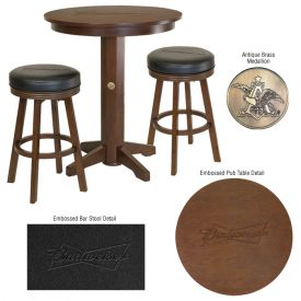 Enlarge Budweiser� AB-53202 - Bowtie Pub Table & Barstool Set-Brown Finish
