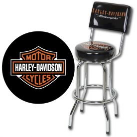 Enlarge Harley Davidson HDL-12204 - Bar & Shield Bar Stool w/ Backrest