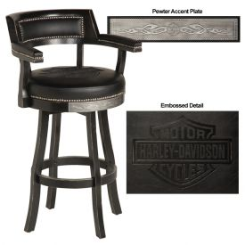 Enlarge Harley-Davidson® HDL-13110-V - Bar & Shield Flames Bar Stools w/Backrest - Vintage Black