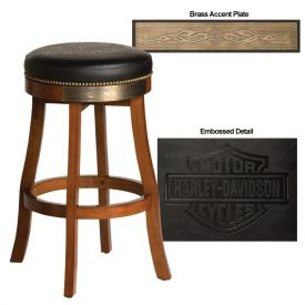 Enlarge Harley-Davidson� HDL-13120-H - Bar & Shield Flames Bar Stool - Heritage Brown