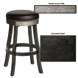 Enlarge Harley-Davidson� HDL-13120-V - Bar & Shield Flames Bar Stool - Vintage Black