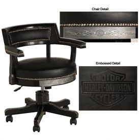 Enlarge Harley-Davidson� HDL-13140-V - Bar & Shield Flames Poker Chair - Vintage Black/Pewter Accents