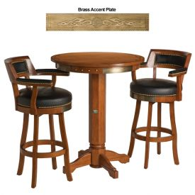 Enlarge Harley-Davidson� HDL-13201-H - Bar & Shield Flames Pub Table & Backrest Stool Set - Heritage Brown