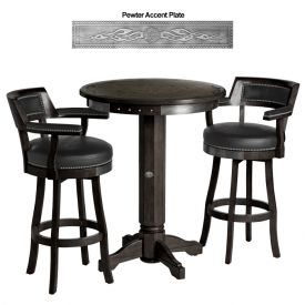 Enlarge Harley-Davidson� HDL-13201-V - Bar & Shield Flames Pub Table & Backrest Stool Set - Vintage Black