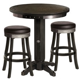 Enlarge Harley-Davidson� HDL-13202-V - Bar & Shield Flames Pub Table & Bar Stool Set - Vintage Black
