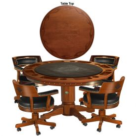 Enlarge Harley-Davidson® HDL-13300-H - Bar & Shield Flames Poker Table & Chairs Set - Heritage Brown
