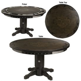 Enlarge Harley-Davidson® HDL-13301-V - Bar & Shield Flames Poker Table w/ Vintage Black finish