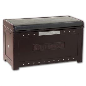 Enlarge Harley-Davidson HDL-13601-H - Bar & Shield Flames Storage Bench - Heritage Brown