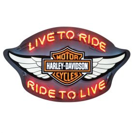 Enlarge Harley-Davidson� HDL-15401 - Winged Bar & Shield Live to Ride, Ride to Live Neon Sign
