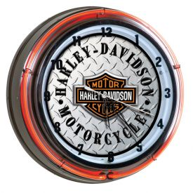 Enlarge Harley-Davidson HDL-16611 - Bar & Shield Diamond Plate Double Neon Clock