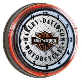Enlarge Harley-Davidson® HDL-16611 - Bar & Shield Diamond Plate Double Neon Clock