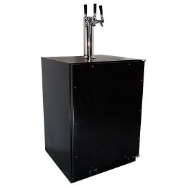 Enlarge Marvel 61HK-BB-O-R-X3D Kegerator Cabinet with BeverageFactory.com X-CLUSIVE 3 Faucet D System Keg Tapping Kit - Black Cabinet with Overlay Door