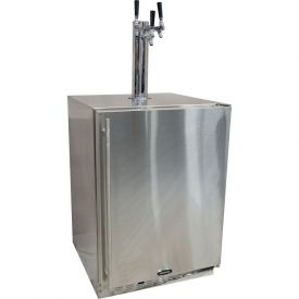 Enlarge Marvel 60HK-SS-B-LR-X3HB Outdoor Kegerator Cabinet with BeverageFactory.com X-CLUSIVE 3 Faucet Home Brew Keg Tapping Kit